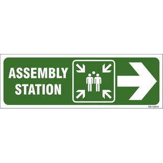 SignageShop  Glow in Dark Assembly Station with arrow Sign (Pack of 5 Nos)