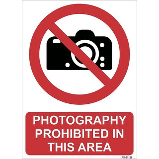 SignageShop  High quality Vinyl Photography Prohibited in this area Sign (Pack of 5 Nos)