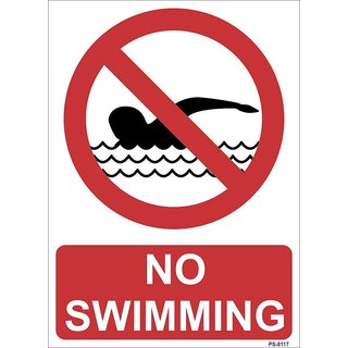 SignageShop  High quality Vinyl No Swimming Sign (Pack of 5 Nos)