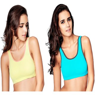 Restless Yellow And Sky Blue Sports Bra