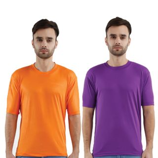 Krazy Katz Premium Polyster Round Neck  T Shirts for Men (Pack Of 2)