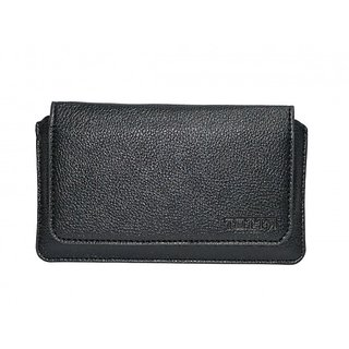 JVM PU Leather Hand Pouch for Celkon A43 (BLACK)