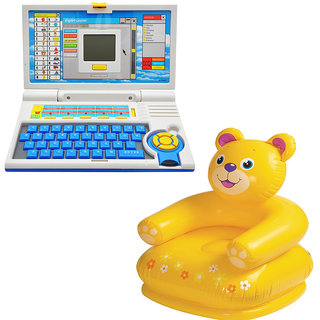 Buy Children Combo English Learner Laptop And Teddy Chair Online