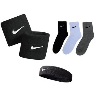 Combo Of Sports Socks Pack Of 3 Pairs And Black Sports Head Band And Wrist Band.