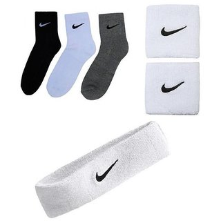 COMBO OF SPORTS SOCKS PACK OF 3 PAIRS+WHITE SPORTS HEAD BAND+ WRIST BAND.