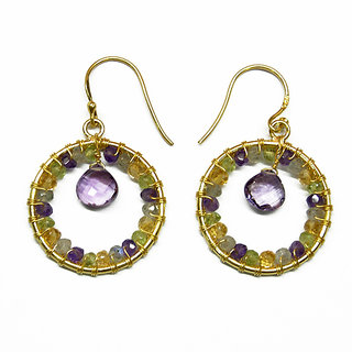 Silver Earring with semi precious stone