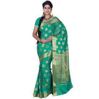 Womantra Green  Color Woven Gold Butti Art Crepe Silk Saree