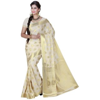 Womantra Beige  Color Woven Gold Butti Art Crepe Silk Saree