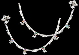 Sparkling Silver Designer Anklet With Multicolor Stone