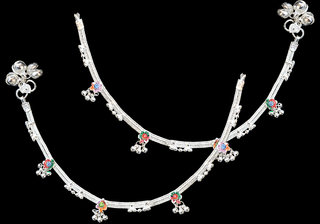Sparkling Silver Designer Anklet With Multicolor Stone