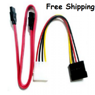 SATA F-F Data Cable + Power Cable for HDD.DVD Writer
