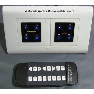 Buy 4 Modular Anchor Roma Switch Board With Remote Control