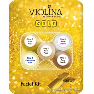 Violina Mini Facial Kits Combo Pack- 4  Kits(Gold, Saffron, Mix Fruit, Papaya)