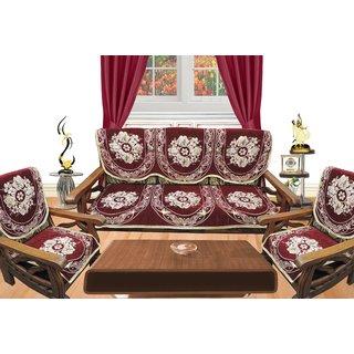 Dcor Bazaar Maroon Floral Sofa Cover Set