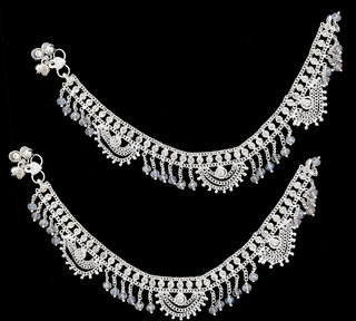 Sparkling Silver Plated Anklet With Stone And White Crystal