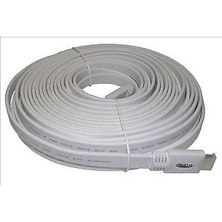 10m Flat White High Speed HDMI Cable Ethernet V1.4 1080i 1080p 1440p 3D