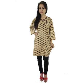 Shopmore Sandal Color Angrakha Style Kurta