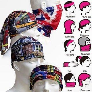 Fashno Unisex Bandana Multi Scarf Headwear- Pack of 1(Random Colour Design) 967583ace24