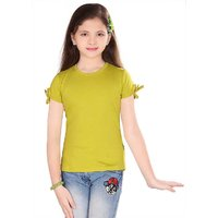 Sinimini Fashion Trendy Girls Cotton Top Lemon Yellow