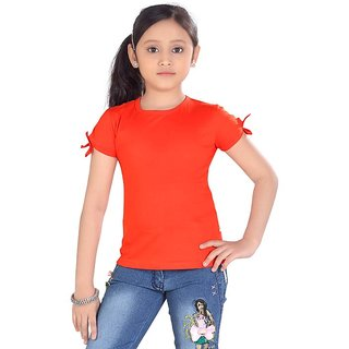 Sinimini Fashion Girls Cotton Top Orange