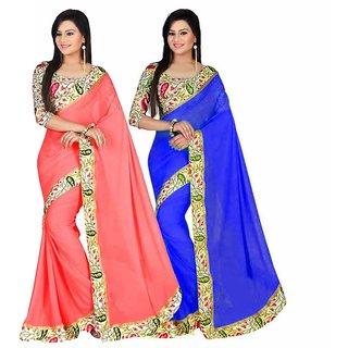 Bhuwal Fashion Blue  Peach Bhagalpuri Silk Printed Saree With Blouse