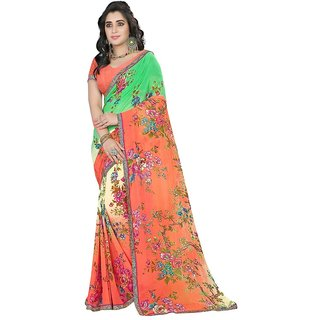 Karishma Green & Orange Georgette Floral Saree With Blouse