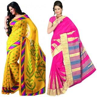 Kamdhenu Fabrics fancy Designer Bhagalpuri Silk Saree-Combo Of 2.