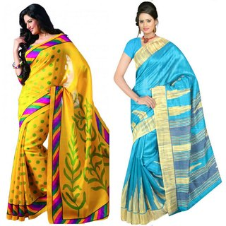 Kamdhenu Fabrics fancy Designer Bhagalpuri Silk Saree-Combo Of 2.