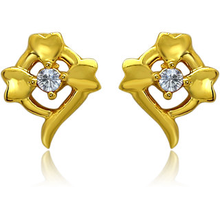 Mahi Exa Collection CZ White Flower Fancy Gold Plated Stud Earrings for Women ER6012029GWhi