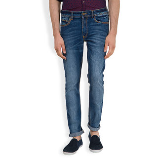 Locomotive Navy Blue Slim Fit Mid Rise Mens Jeans