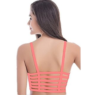 8646870c65 Buy BJAC 6 Straps Carrot Pink Padded Bralette (removable pads) Online - Get  40% Off