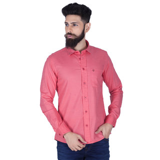 Integriti Red Solid Casual Shirts For Men