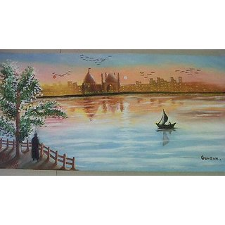 Sunset Scenery With Beautiful Shade Oil Painting