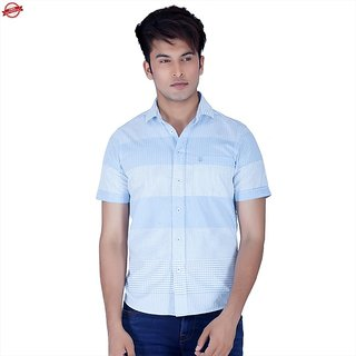 Integriti Blue Striped Casual Shirts For Men