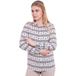 TightHugs White Viscose Shirt Collar Long Sleeve Solid Shirt For Women