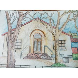 Pencil Coloured Home Sketch