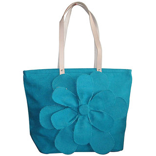 Earthbags Leather Handle Jute Bag With Hand Cut Flower