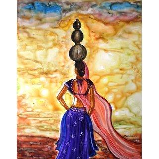 Original Painting- Rajasthani Lady-On sale