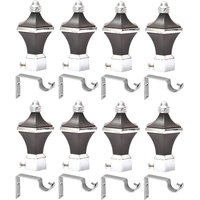 Easyhome Furnish Metal Vengi Curtain Brackets With Support Set Of 8 Ecb-405V