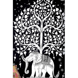 Indian Elephant Mandala Tree Of Life Wall Hanging Tapestry Throw Bed Cover Decor
