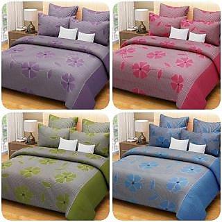 Akash Ganga Combo of 4 Beautiful Bedsheets