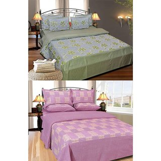 Shiv Fabs Cotton Double Bedsheets with 2 Pillow covers Combo of 2 ( XXX23 )