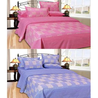 Shiv Fabs Cotton Double Bedsheets with 2 Pillow covers Combo of 2 ( XXX66 )
