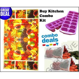 Combo of Floral Fridge cover+ Ice trays (2) + Fridge Zipped Bags 6 pcs