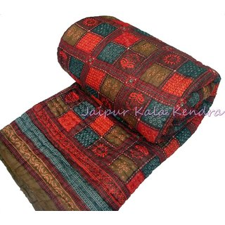 Bajya Double Bed Premium Jaipuri Razai Dabu Print Rajasthani Quilt Winter Blanket