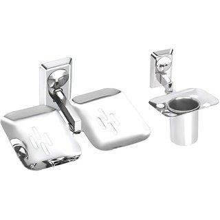2 Pieces Bathroom Accessories(1-Tumbler Holder,1-Double Soap Dish)