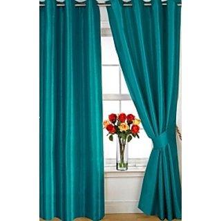 Aqua Plain Eyelet Door Curtain