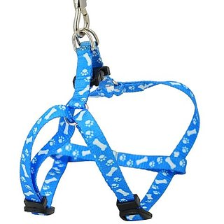 Futaba Pet Traction Rope Nylon Leash Harness Chest Collar Drawing Neck Lead Strap - Blue