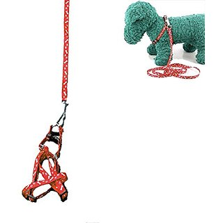 Futaba Pet Traction Rope Nylon Leash Harness Chest Collar Drawing Neck Lead Strap- Red