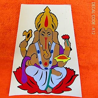 Lord Ganesha Multi Colour Radium Decal for Bike and Car - TYPE01